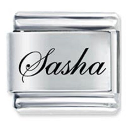 Primary image for 9mm Sasha Laser Name Italian Charm ( F ) (LN3222)