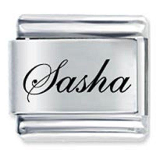 9mm Sasha Laser Name Italian Charm ( F ) (LN3222)