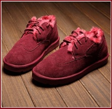 Wine Red Leather Suede Flats Thick Fur Lined Padded Short Laced Unisex Shoes