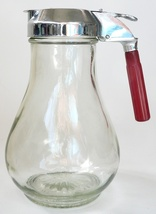 Vintage Dripcut glass chrome syrup dispenser red bakelite handle jar maple - $36.00