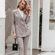 Women's  Double Breasted Plaid Blazer Pant Suit Set