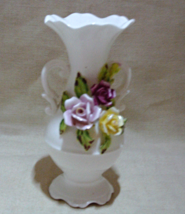 Vintage GEORGIAN FINE BONE CHINA Vase with Applied Roses - $5.00