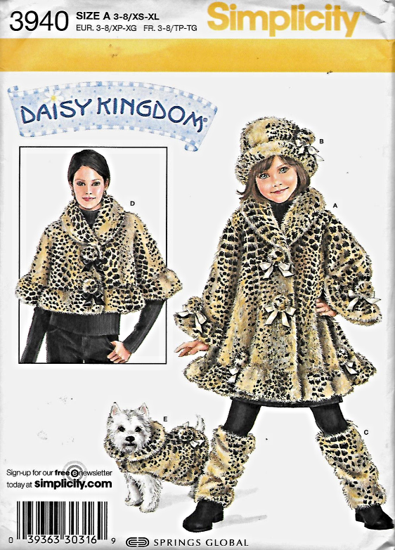 S3940 Girls' Coat + Misses' Capelet + Dog Coat +++ More Pattern 3-8/XS-XL