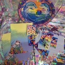 90s wow LISA FRANK LOT Dolphin PLATES Assorted Stickers Stationery Pencil Roary image 2