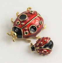 ESTATE VINTAGE Jewelry LOT OF 2 ENAMEL LADYBUG INSECT FIGURAL BROOCH SPH... - $15.00