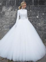 Designer High Neck Long Sleeve Winter Ball Gown Lace Tulle A-Line Princess Brida image 2