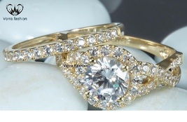 Infinity Style Wedding Ring Set Yellow Gold Plated 925 Silver Round Cut White CZ - $84.99