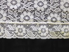 "TABLECLOTH Cream Cutout Lace Floral Design 58"" X 76""  Exc Pre-Owned (CC) image 4"