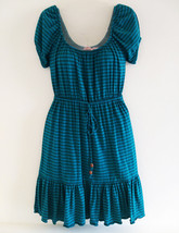 Juicy Couture Teal Striped Short Sleeve Jersey Knit Dress Size P - $22.50