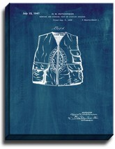 Hunting And Fishing Vest Patent Print Midnight Blue on Canvas - $39.95+