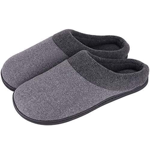 HomeIdeas Men's Woolen Fabric Memory Foam Anti-Slip House Slippers, Autumn Winte