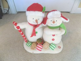 Hallmark Jingle Pals Animated Singing Mr & Mrs Snowman w/Candy, Cookies - $29.69