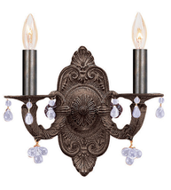 Wall Sconce 2 Light With Venetian Bronze Murano Clear Crystal 11 inch 12... - $118.08