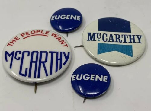 Primary image for Eugene Mccarthy Pinback Button Lot Of 4 Vintage Original The People Want 18-1324