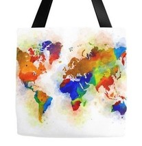 Tote bag All over print Design 77 World Map continents blue green L.Dumas - $26.99+