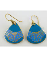 LAUREL BURCH Teal Blue Enamel Gold-Tone Drop Dangle EARRINGS -signed - F... - $25.00