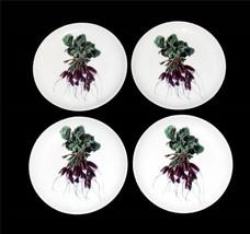 4 Arlington Purple Radish Bunches on White 7-3/4 Salad Plates NEW Unique - $26.99