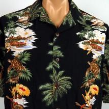 Hilo Hattie Hawaiian Aloha Shirt Mens XL Black Turtles Outriggers Ukulel... - $37.39