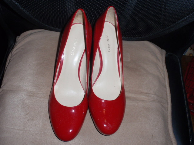 "Nine West Red Patent Leather 3"" Block Heels Shoes Size 9M  New without box"