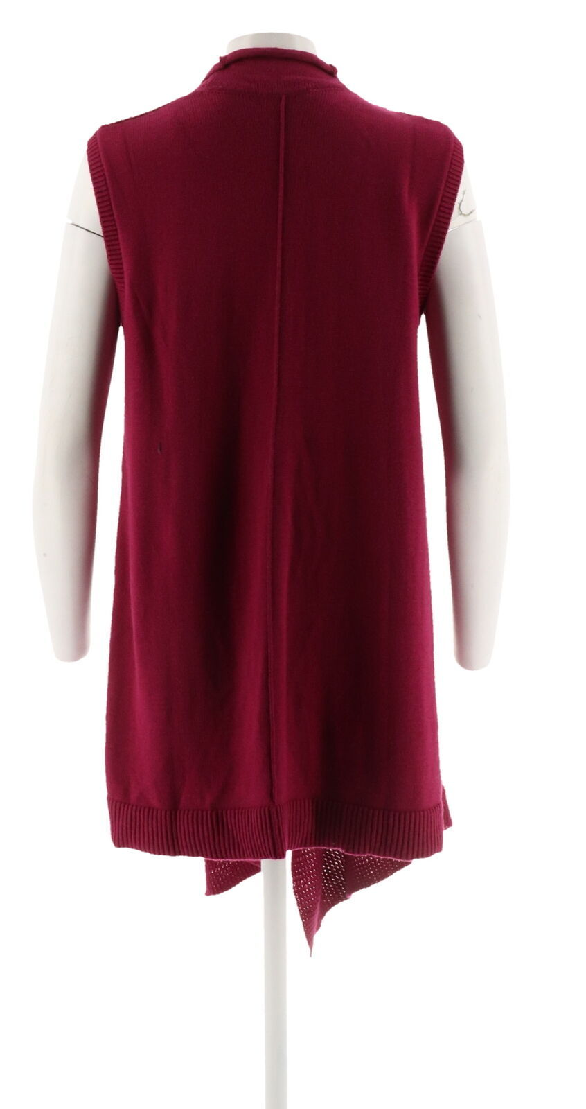 Halston Waffle Stitch Cascade Collar Sweater Vest Dark Raspberry L NEW A272363 image 3