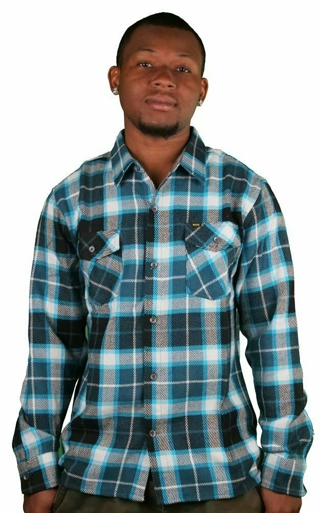 Enjoi Not Bad Plaid Turquoise Button-Down Long Sleeve plaid Check Shirt