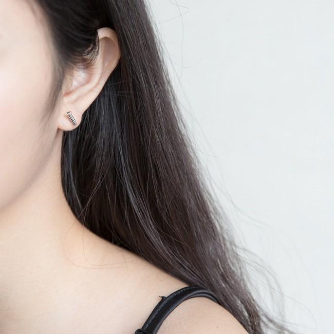Fashion Lag Spike 925 Sterling Silver Stud Earrings