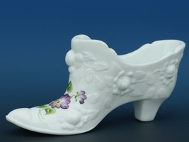 Vintage Fenton Art Glass Hand Painted Purple Pansies on Milk Glass Rose Slipper