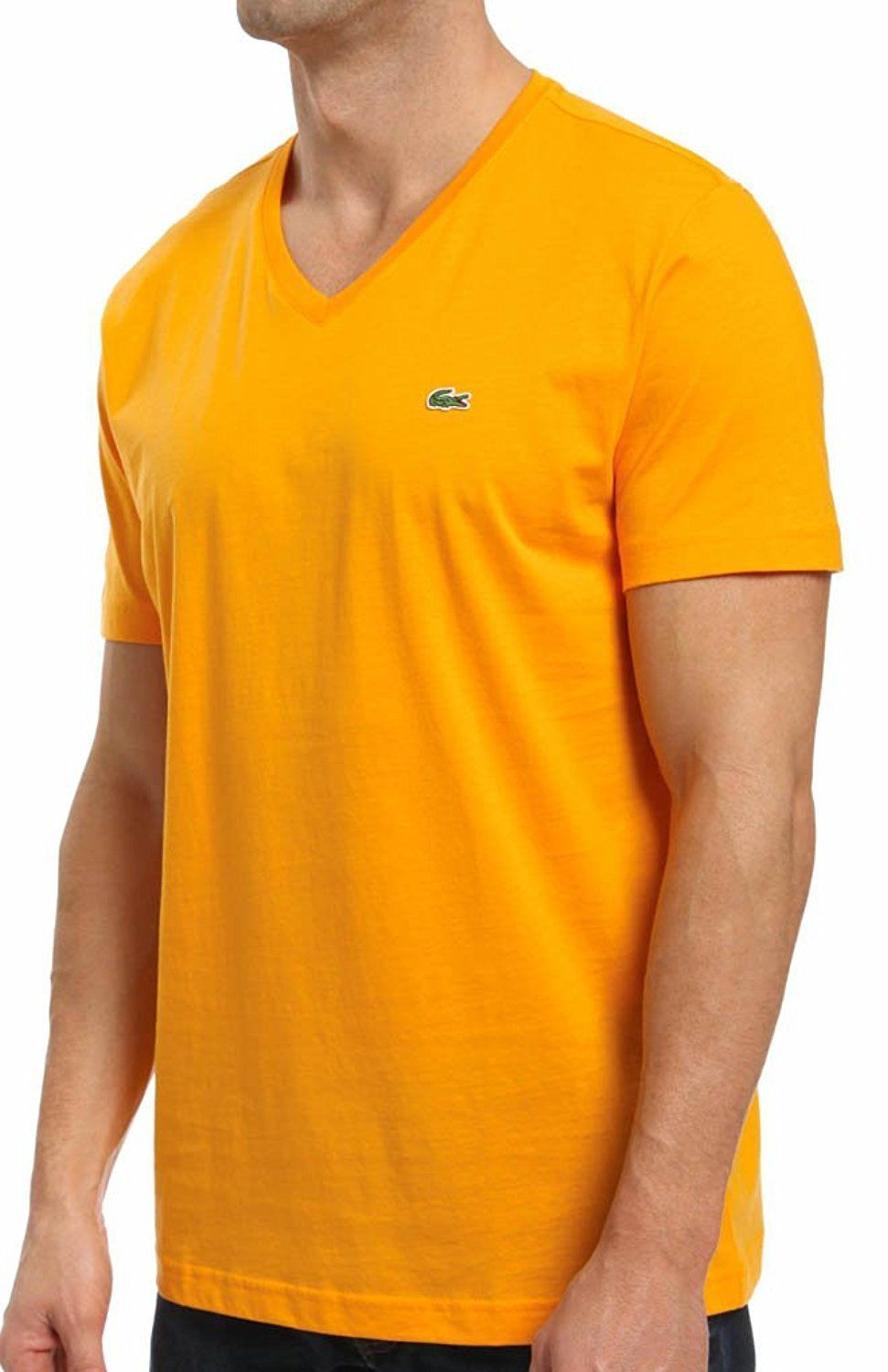 Lacoste Men's Sport Athletic Pima Cotton V-Neck Shirt T-Shirt Tangerine size S