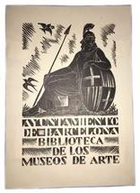 E.C. Ricart Museos De Arte Barcelona 1959 Ex Libris Exlibris Bookplate - $49.49
