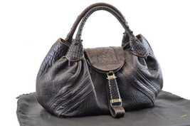 FENDI Leather Hand Bag Brown Auth 3283 - $260.00
