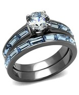Blue and Clear CZ Wedding 2 Ring Set Lite Black Plated Stainless Steel T... - $26.00