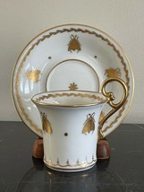 Adorable Limoges France Napoleon Bee Decor Porcelain Cup and Saucer - $119.00
