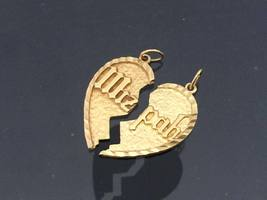 Vintage 14K Solid Yellow Gold Heart Charm Pendant - $285.00