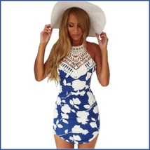 Slim Blue Floral Spaghetti Strap Crochet Neck Cotton Print Beach Wear Dress - $41.95