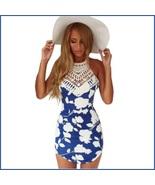 Slim Blue Floral Spaghetti Strap Crochet Neck Cotton Print Beach Wear Dress - $41.95