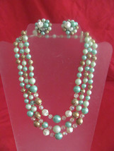 VINTAGE 3 STRAND NECKLACE & CLIP EARRINGS AQUA-GOLD-WHITE-CLEAR BEADS-WE... - $19.49