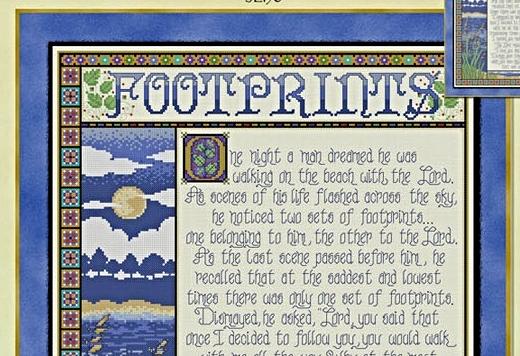Footprints JE190 cross stitch chart Joan Elliott Designs