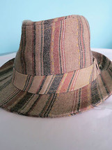 Quiksilver  Brown Striped FEDORA Trilby Hat Lined  Wool Blend S/M EEUC - $9.89