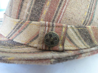 Quiksilver  Brown Striped FEDORA Trilby Hat Lined  Wool Blend S/M EEUC