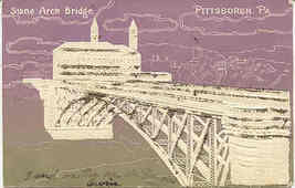 Stone Arch Bridge Pittsburgh Pennsylvania vintage 1906 Post Card - $5.00