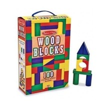 Melissa Doug Wooden Blocks 100pc Color Shaped Classic Stacking Building ... - $24.72