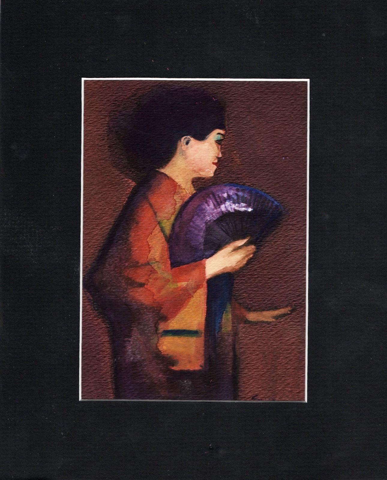 original mixed media painting 8x10 oriental woman fan