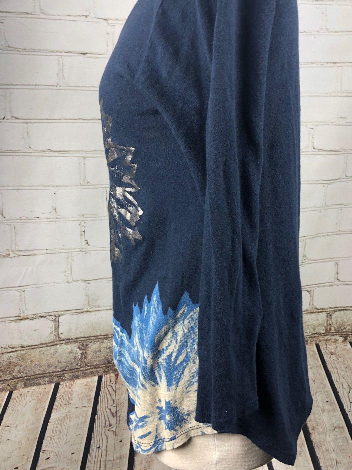 Lucky Brand Top T-Shirt Women's S Loose Fit Lightweight Linen Cotton Knit Flower image 3