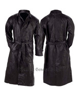 Mens Black Leather Trench Coat Full Length Duster Lined Button Front - $40.60