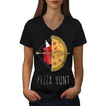 Pizza Hunt Arrow Hot Food Shirt  Women V-Neck T-shirt - $12.99+