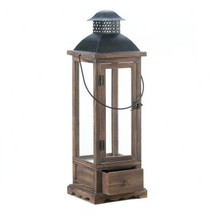 Large Wooden Lantern with Drawer - $46.65