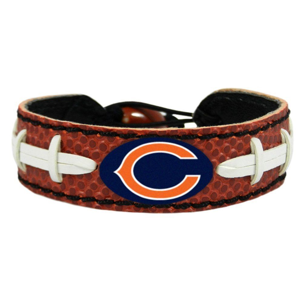 CHICAGO BEARS CLASSIC LEATHER FOOTBALL LACES BRACELET NFL FOOTBALL #1