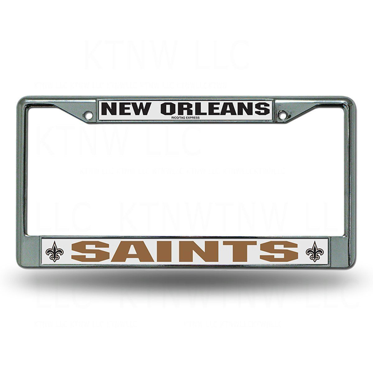 NEW ORLEANS SAINTS CAR AUTO CHROME METAL LICENSE PLATE TAG FRAME NFL FOOTBALL