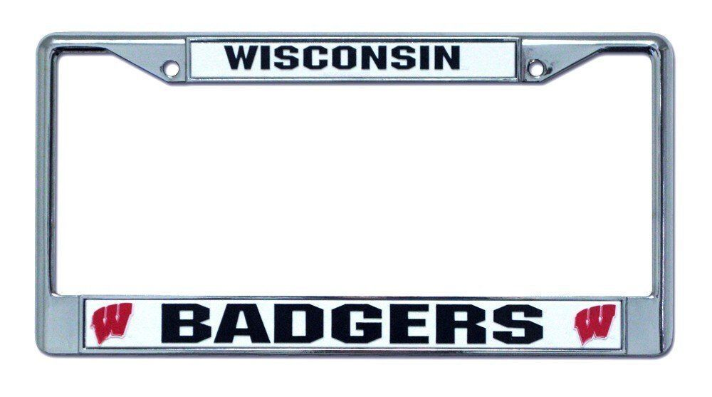 WISCONSIN BADGERS CAR AUTO CHROME METAL LICENSE PLATE FRAME NCAA