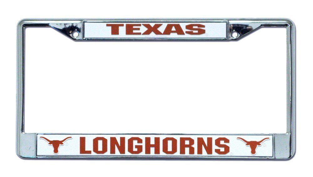 TEXAS LONGHORNS CAR AUTO CHROME METAL LICENSE PLATE FRAME NCAA